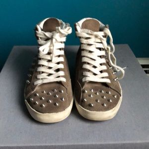 Steve Madden studded tan suede sneakers